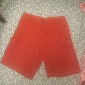 Red Izod shorts